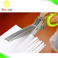 Multi layer scissors stainless steel food grade 5 blade herb scissors paper cutting scissors with cleaning comb