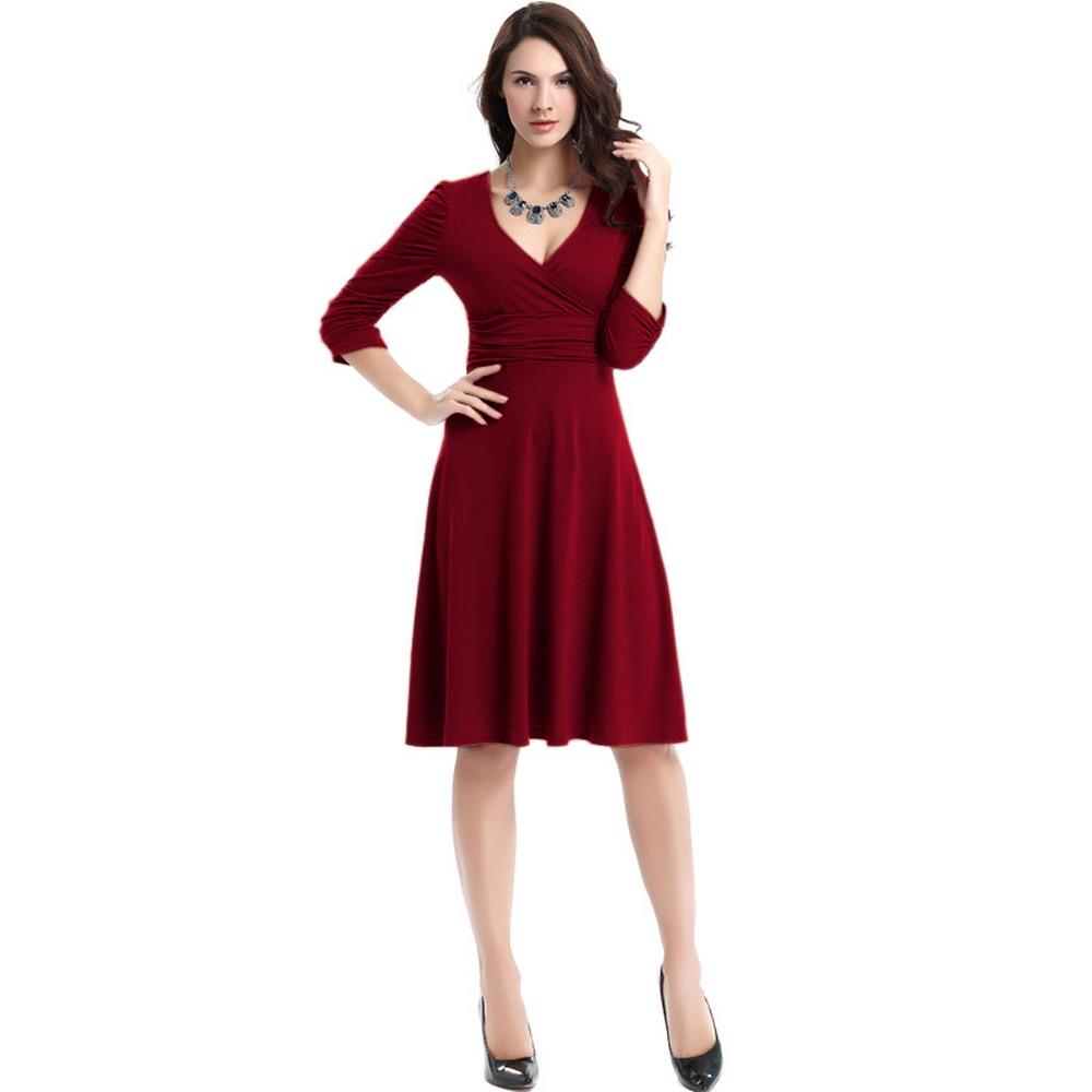 477efa7b981 Summer Dress Sexy Slim Deep V-neck Pleated Women A-Line Dress Three ...