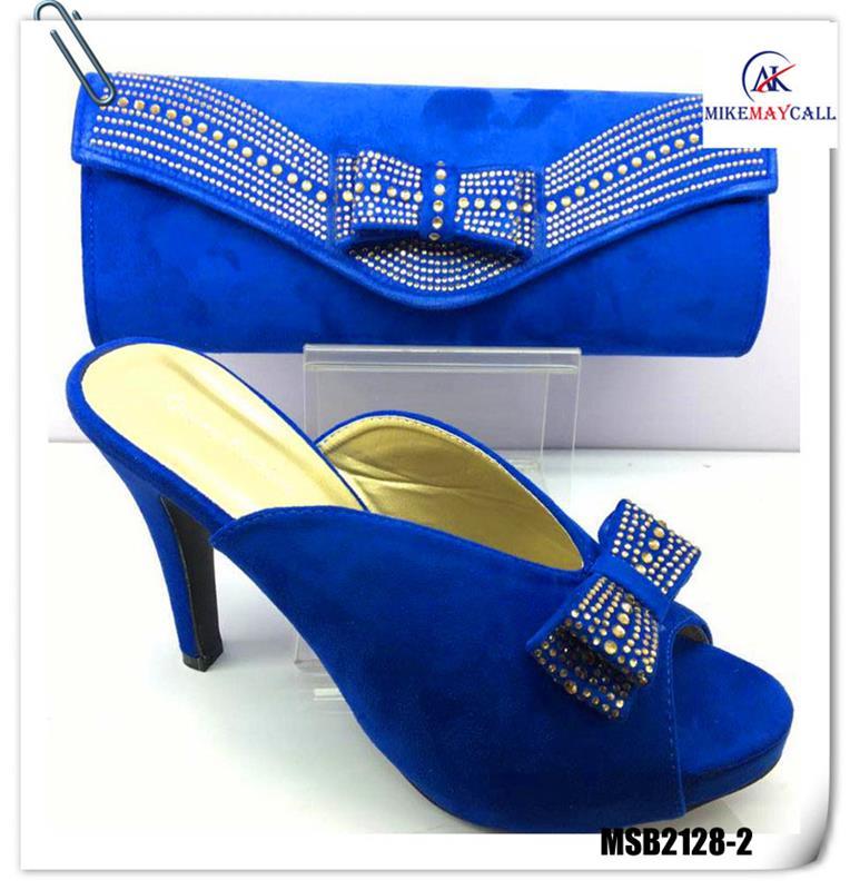 Mikemaycall bonne qualité africain femmes royal bleu italien mule haute  talon chaussures et sac ensemble
