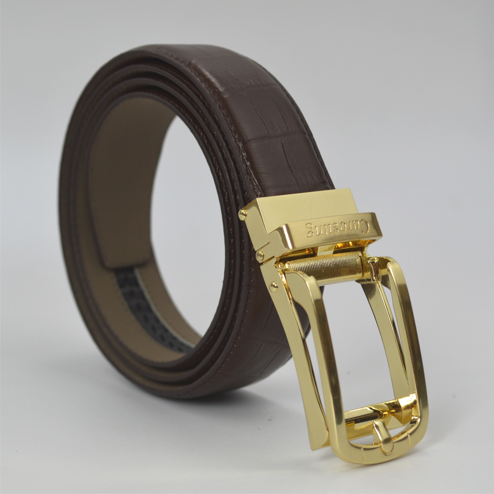 Carosung Real Leather Automatic Buckle Adjustable <strong>Belts</strong> for Men in Brown CCGD-01