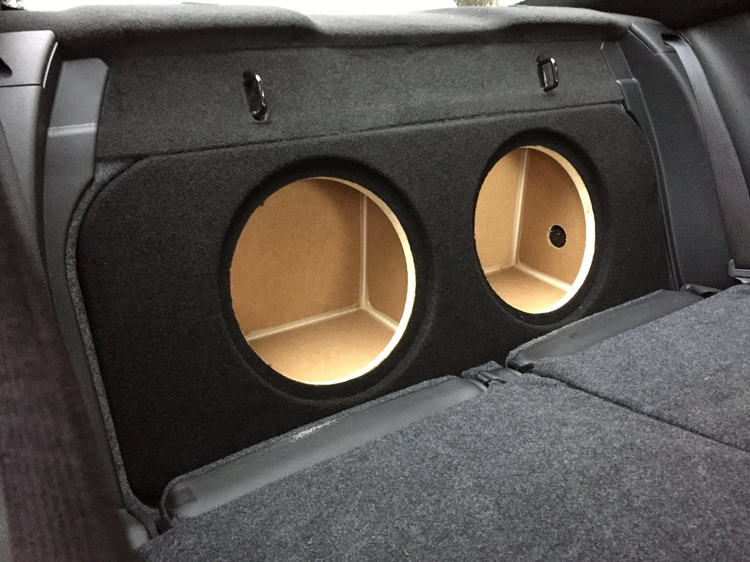 "Zenclosures 2015-2016 Mustang 2-10"" Subwoofer Box W/recessed Mounting Holes, FRONT FIRE - BLACK, Version 2"