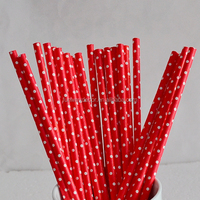 Party Supply Red Small Polka Dot Drinking Paper Straws for Table Decoration Biodegradable Paper Straws Flexible