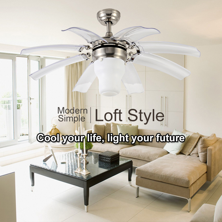 Chandelier Fan Lamp Flower Folding Blades Luxury Bedroom Ceiling Fan With Light