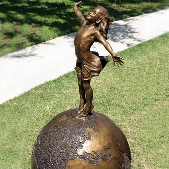 Metal Craft Sculpture Life Size Cute Girl Standing On Earth Bronze Garden  Statue