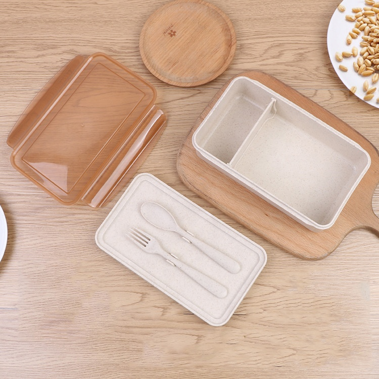Wheat Straw Lunch Box Plastic Microwavable Bento Lunch Box Container Thermal Storage Box