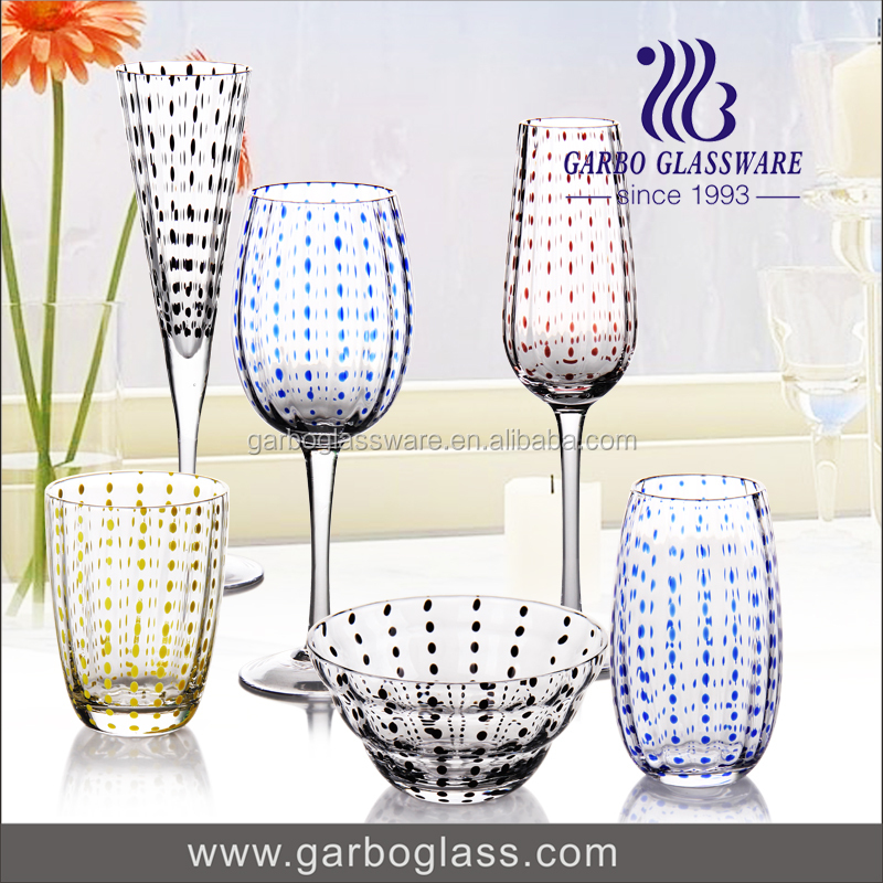 Handmade solid Colorful wine glass stemware cocktail Glass tableware wholesale