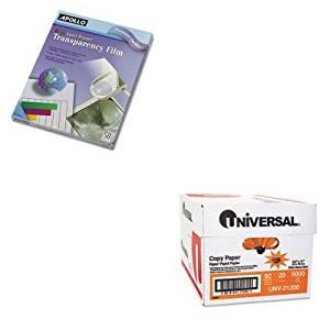 KITAPOCG7070UNV21200 - Value Kit - Apollo Color Laser Printer/Copier Transparency Film (APOCG7070) and Universal Copy Paper (UNV21200)