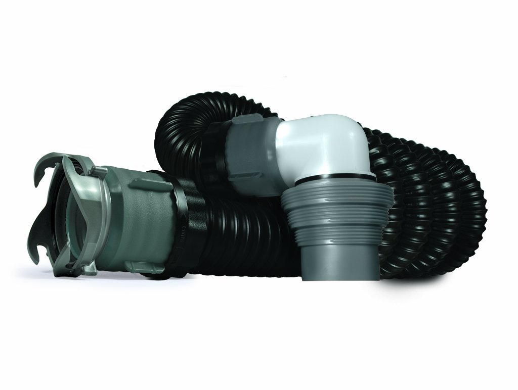 Camco RhinoEXTREME 15ft RV Sewer Hose Kit, Includes Swivel Fitting and Translucent Elbow with 4-In-1 Dump Station Fitting, Crush Resistant, Storage Caps Included