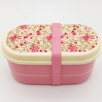 Wholesale print custom PP double deck lunch box with knife, spoon and chopsticks