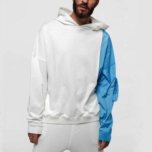 China supplier blank 2 color hooded sweatshirt with woven sleeve