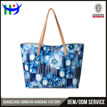 Cheap custom printed tote bag hot sale casual leather beach bag unlined women shoulder bag