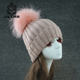 New Fashion Knit Beanie With Fox Fur Ball Wholesale Hotsale Women Hat
