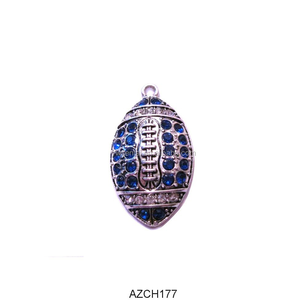 Wholesale silver color zinc alloy royal blue rhinestone football charms