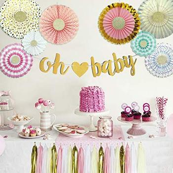 Baby Shower Decorations With Oh Baby Banner Paper Fans Tassels Kit For Girls Or Boys Party Favors Supplies Pink Gold Cream