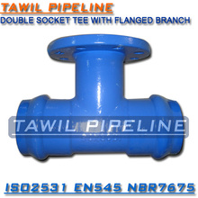 TAWIL ISO2531 ductile iron double socket tee with flange branch fittings for PVC pipe