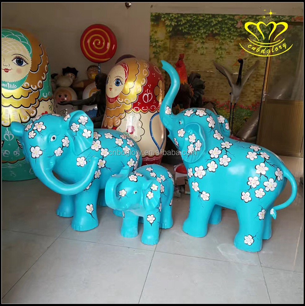Life Size Large Fiberglass resin Elephant Statue for sale