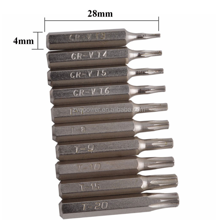 10Pcs Torx Bit Driver Kit Cr-V Security Torx T3 T4 T5 T6 T7 T8 T9 T10 T15 T20