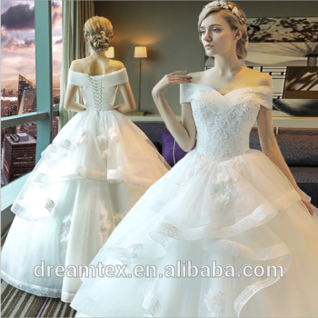 White Polyester Plus Size Bridal Wedding Dress Manufacture Wedding Gown