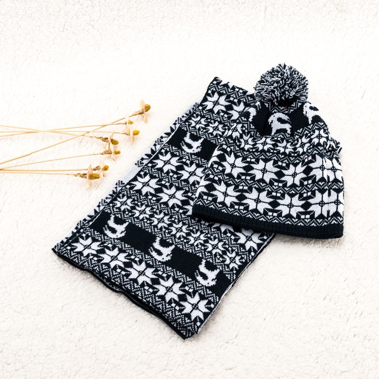 knitted baby winter scarf gloves unique personality hat set