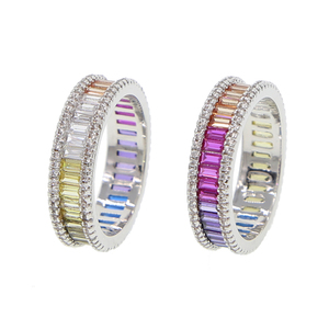 Newest Style Gradient Rainbow Color accessories women jewelry crystal zircon cz rainbow colorful silver gold plated ring