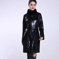 Women winter clothing black really fur collar detachable leather jacket online