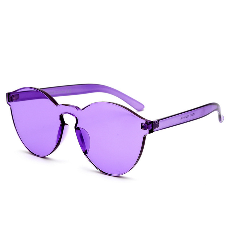 JH New Arrival Custom Cheap Fashion UV400 Transparent Plastic Frameless Purple Women Sunglasses 2019