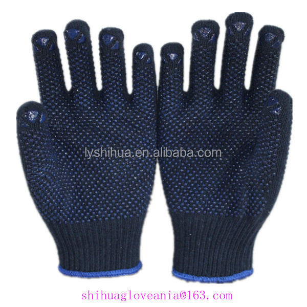Navy blue cotton knitted glove