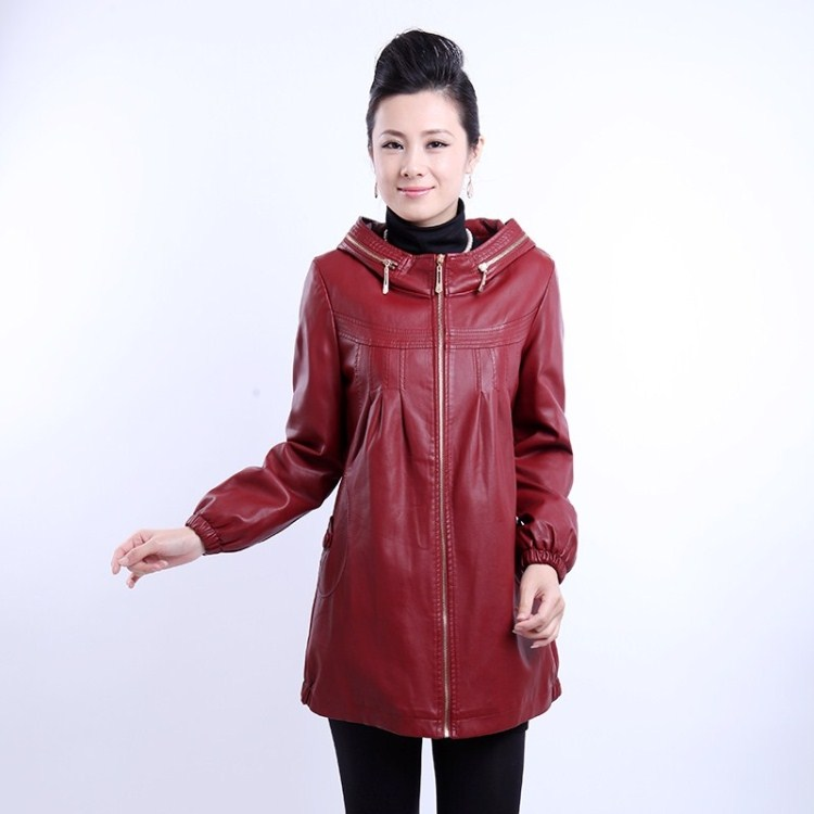 new 2014 spring autumn and winter Sheepskin women leather jacket plus size coat medium-long cotton-padded leather women clothing