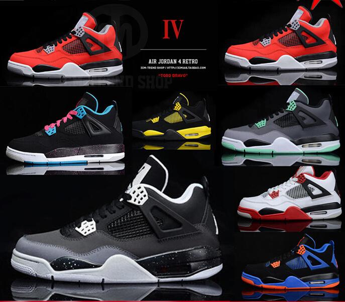 the latest e2526 54fca ... toro rojo fuerte oro negro barato 843his ed0c5 baaae  order envío libre  caliente 100 original jordan 4 retro hombres zapatos auténticos barato .  eb6da ...