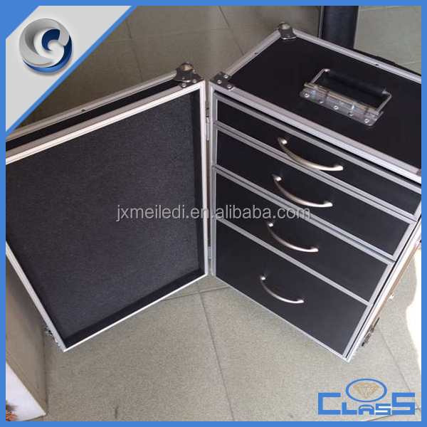 High quality professional custom China <strong>hard</strong> aluminum trolley <strong>case</strong> with drawers for tools
