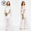 alibaba wedding dress lace BRIDAL Delicate Lace And Pearl Maxi Dress