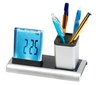 Cool luminous lcd unique desk clocks with color changing light/round plastic silver unique pen holder desk clocks