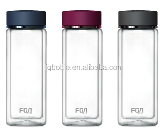 FGA Fuguang Sport Glass Water Bottle with Stainless Steel Cap