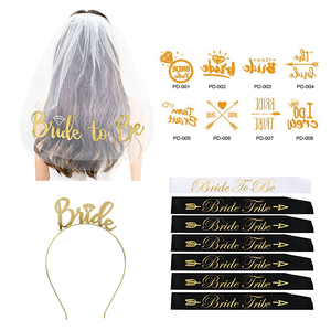 Bachelorette Party Wedding Veil and White Gold Bride To Be Sash Bachelorette Party Sash