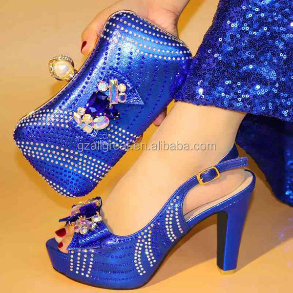 AB7753 African matching shoes and bags women Nigeria party italian shoes and bag set