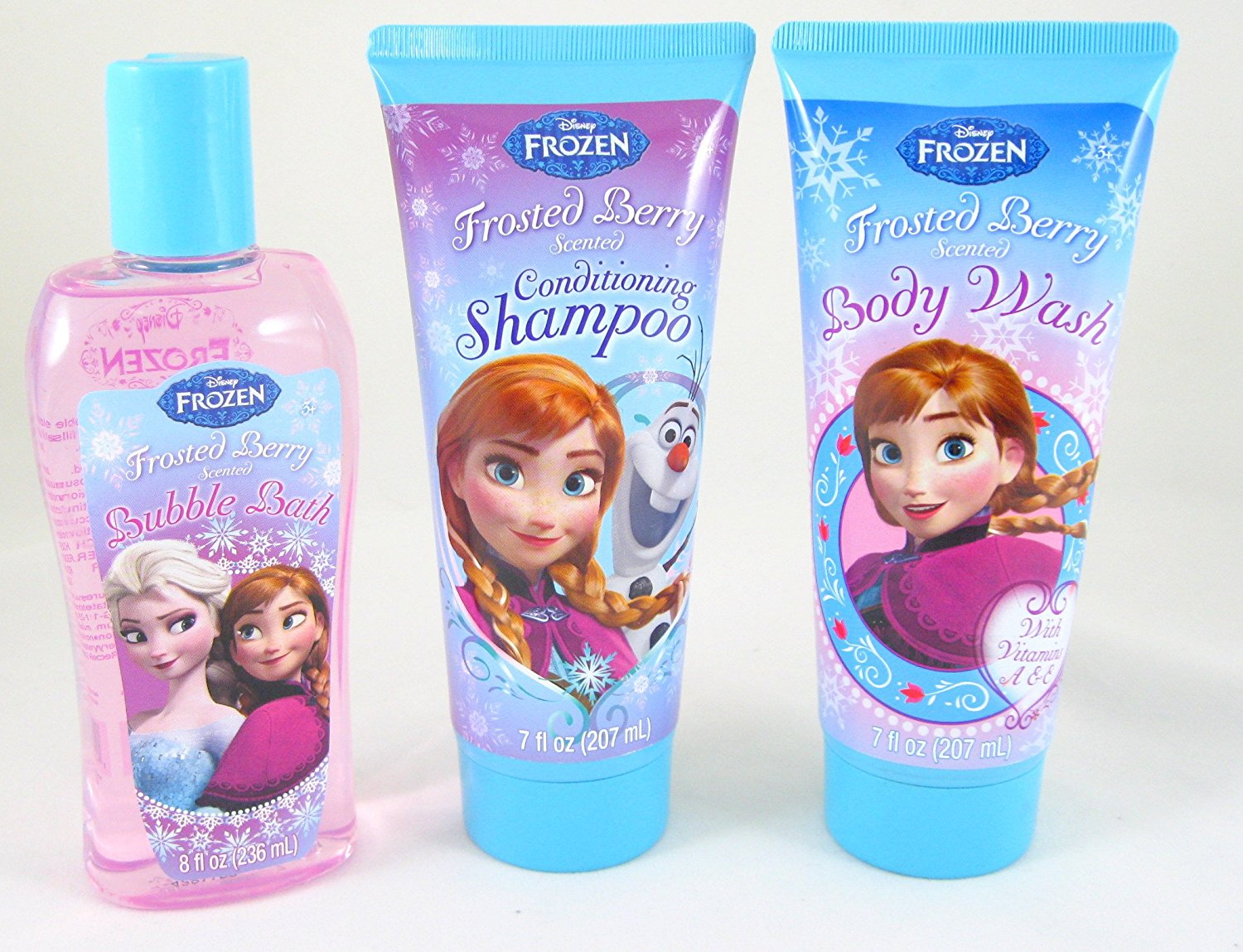 Disney Frozen 3 Piece Set: Conditioning Shampoo, Body Wash, & Bubble Bath Frosted Berry Scented