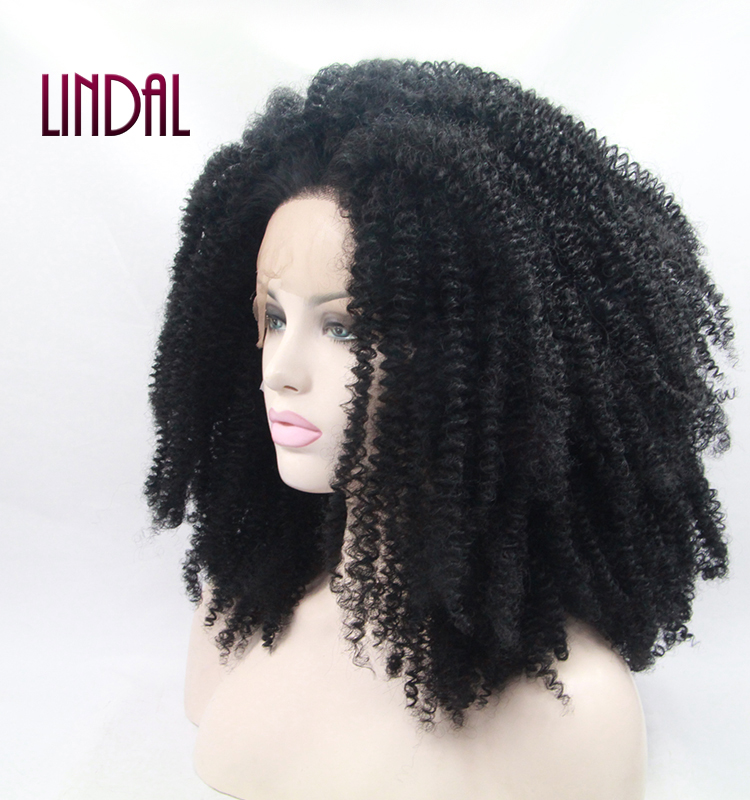 LINDAL black luxury heat resistant curly <strong>lace</strong> front free part fiber <strong>synthetic</strong> <strong>full</strong> head <strong>wig</strong> for girls