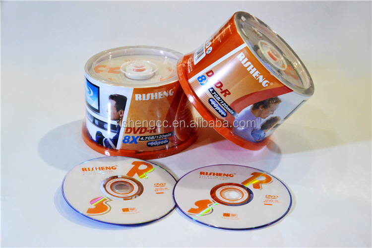 China biggest cdr manufacturer RISHENG brand Blank shrinkwrap Printing Dvd+/-r