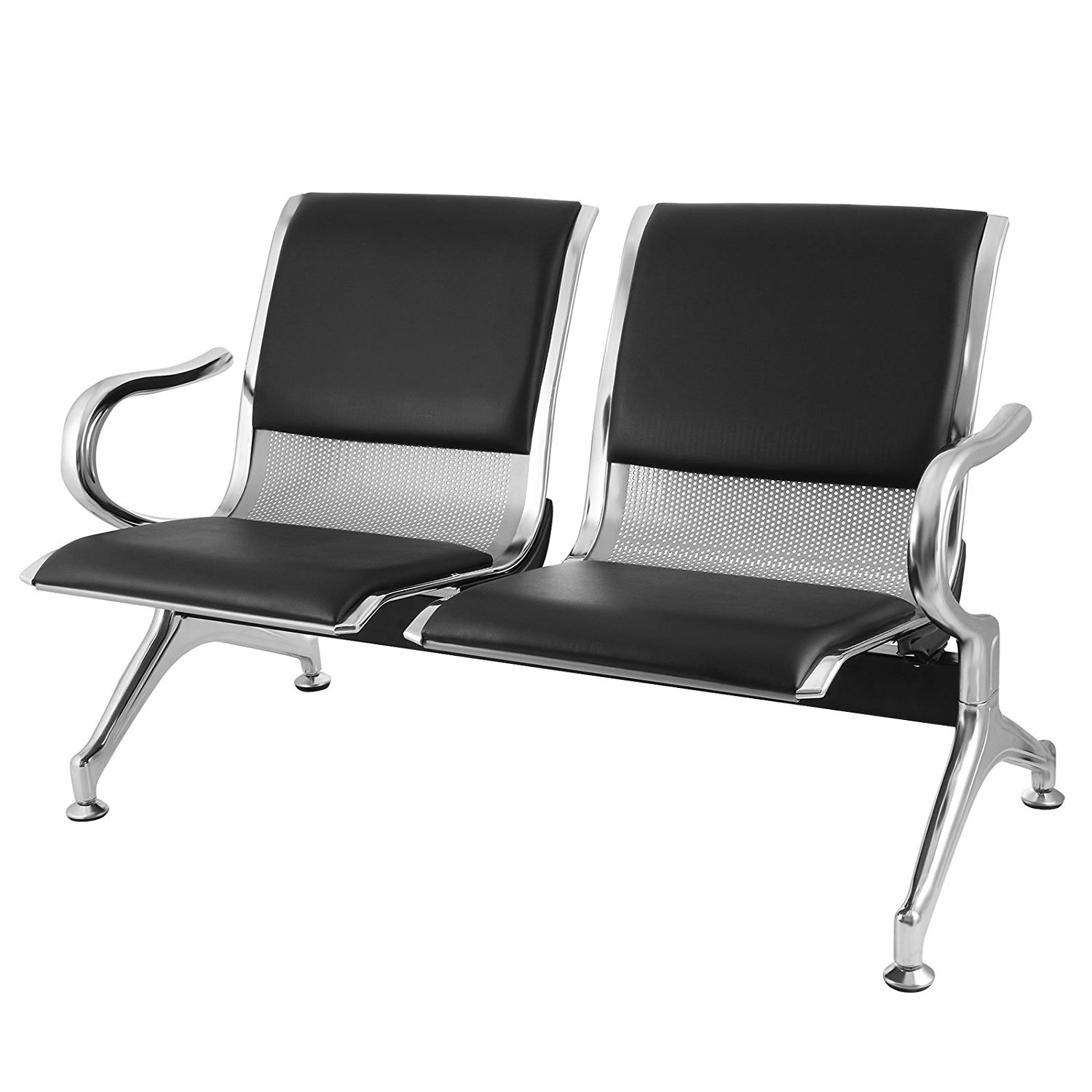 Mophorn Waiting Room Bench Chair 2 Seat Beach Airport Reception Chair Garden Barber Airport Salon Waiting Chairs Stainless Steel PU Leather (2-Seat)