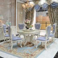 Luxury Round White Hand Carved Flowers Marble Top Dining Table Set