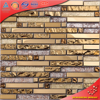 HTJ26 Heißer Verkauf Dekorative Metallische Kristall Glas Schlafzimmer Wand  Gold Mosaik Fliesen