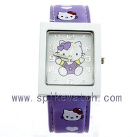 Quartz analog purple color promotion children's hello kitty pattern watch for girls