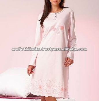 Women s Printed Long Sleeve Nightgown With Frilled Edges - Buy Ladies Long  Sleeve Nightgown 22fbfe843