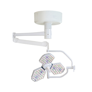Surgical shadowless lamp with single headlight LED operating halogen cold light source