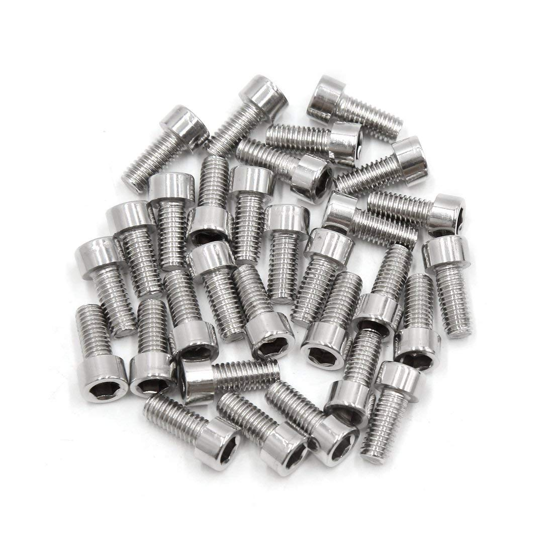 uxcell 30pcs Silver Tone Stainless Steel Motorcycle Hexagon Bolts Hex Screws M6 x 14
