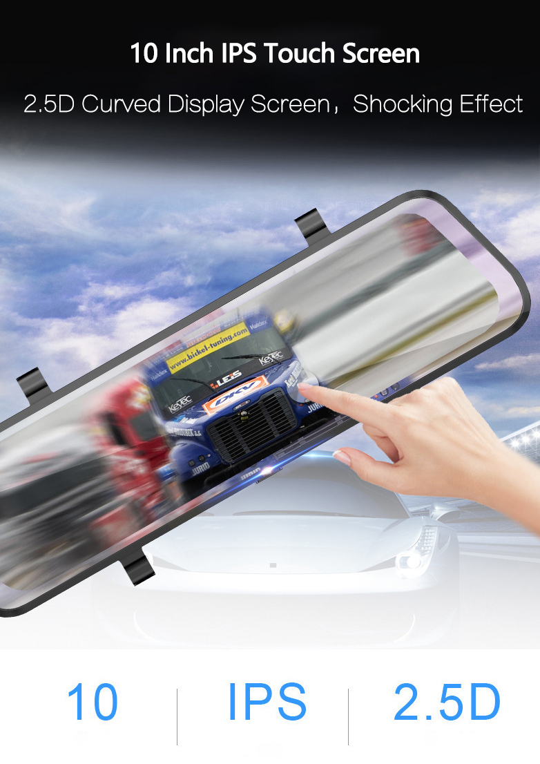 10 inch touch screen full hd 1080P super night vision car streaming video rearview mirror