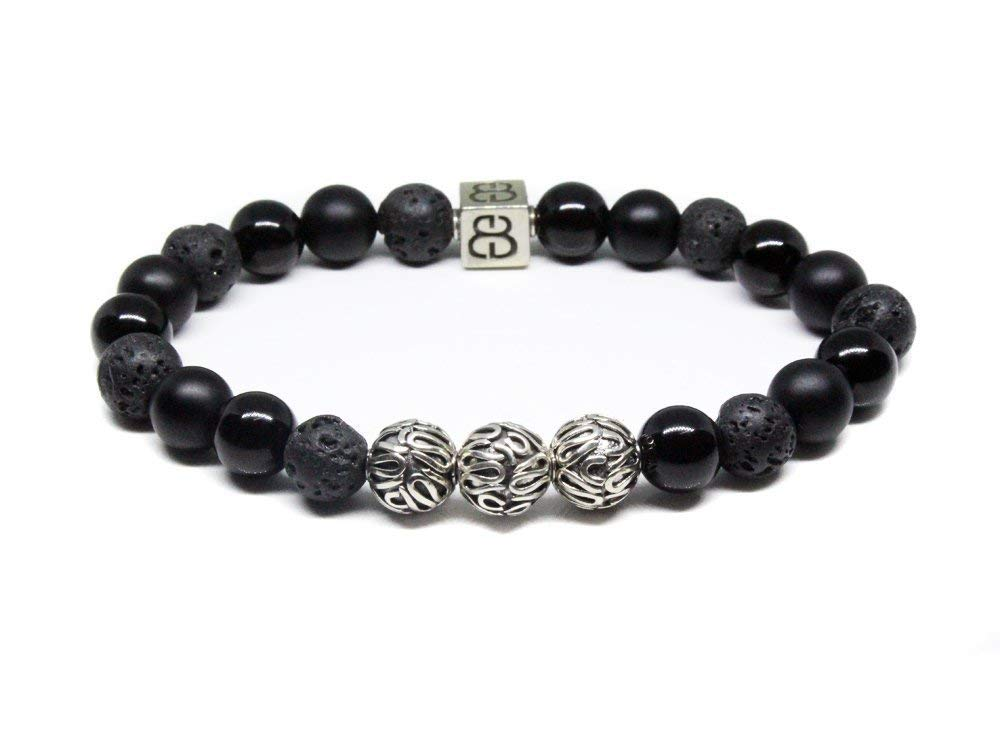 90cf857d4 ... sterling silver Bali beads and a so... Get Quotations · Volcanic Lava  Stone, Matte Black Onyx, and Obsidian Bracelet, Men's Black Beads Bracelet