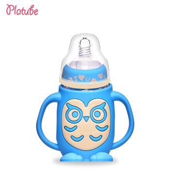 Owl Shape High Quality BFA Free Nature Glass Baby Feeding Bottle With Silicone Sleeve