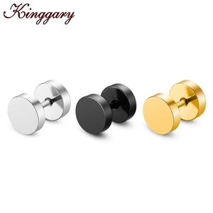 Wholesale Fashion Black Silver Stainless Steel Earrings Women Men's Barbell Dumbbell Punk Gothic Stud Earring For men
