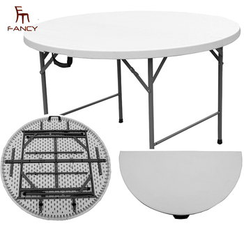 Commercial Fold In Half Round HDPE Folding Plastic Table For Sale